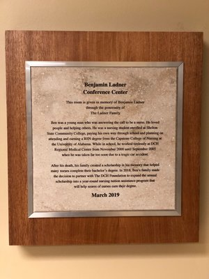 Benjamin Ladner Nursing Excellence Tuition Assistance Program Award Plaque